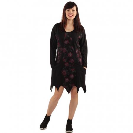 Rochie in colturi cu maneca lunga - BLACK0