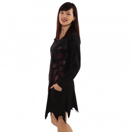 Rochie in colturi cu maneca lunga - BLACK4