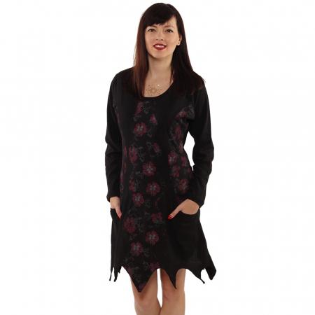 Rochie in colturi cu maneca lunga - BLACK5