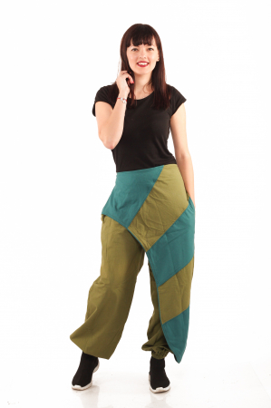 Pantalon salvar tip fusta - Verde0