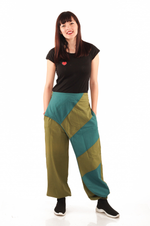 Pantalon salvar tip fusta - Verde3
