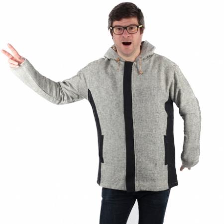 Jacheta barbateasca din bumbac - Gri Negru0