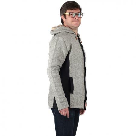 Jacheta barbateasca din bumbac - Gri Negru2