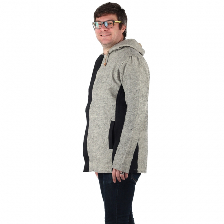 Jacheta barbateasca din bumbac - Gri Negru3