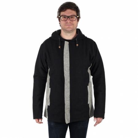 Jacheta barbateasca din bumbac - Negru Gri0