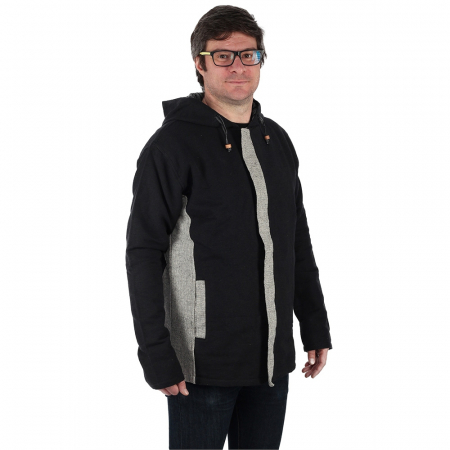 Jacheta barbateasca din bumbac - Negru Gri1