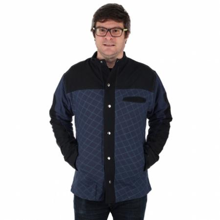Jacheta barbateasca din bumbac, albastru - Geometric0