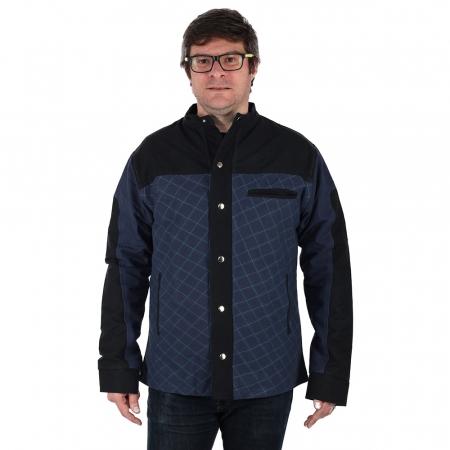 Jacheta barbateasca din bumbac, albastru - Geometric1