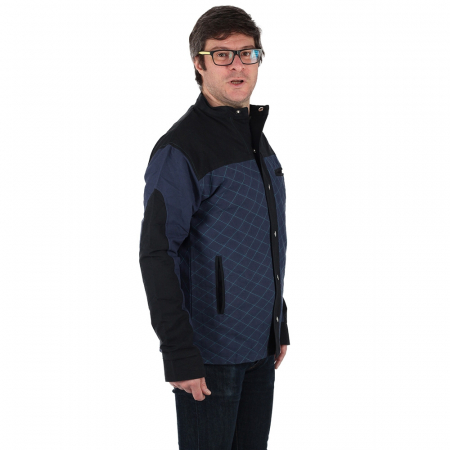 Jacheta barbateasca din bumbac, albastru - Geometric2