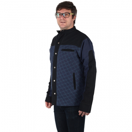 Jacheta barbateasca din bumbac, albastru - Geometric3