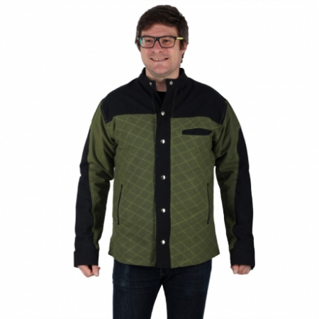 Jacheta barbateasca din bumbac, verde - Geometric0