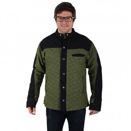 Jacheta barbateasca din bumbac, verde - Geometric1