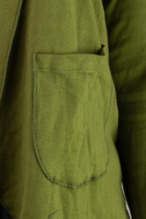 Bluza din bumbac cu maneca lunga, verde cu buzunare1