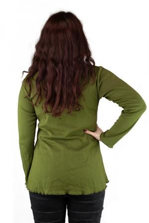 Bluza din bumbac cu maneca lunga, verde cu buzunare4