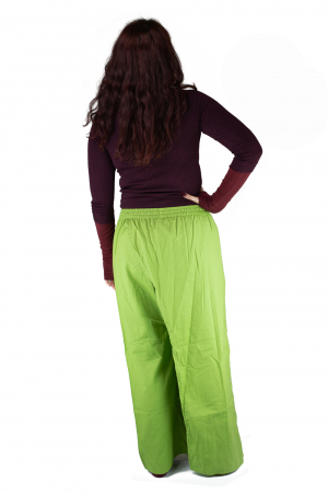 Pantaloni tip fusta din bumbac - Verde6