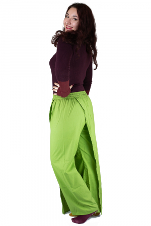 Pantaloni tip fusta din bumbac - Verde8