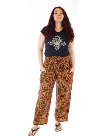 Pantaloni lejeri din bumbac colorati - Spiral - Portocalii0