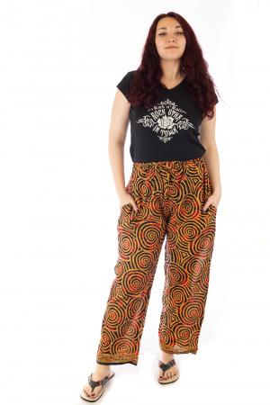 Pantaloni lejeri din bumbac colorati - Spiral - Portocalii1