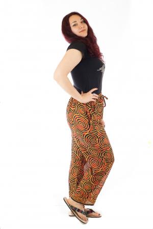 Pantaloni lejeri din bumbac colorati - Spiral - Portocalii2