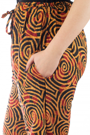 Pantaloni lejeri din bumbac colorati - Spiral - Portocalii4