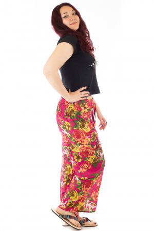 Pantaloni din bumbac subtire - Flower Frenzy - Roz [1]