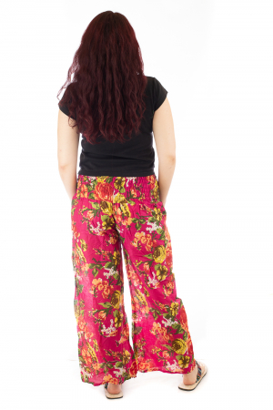 Pantaloni din bumbac subtire - Flower Frenzy - Roz [2]