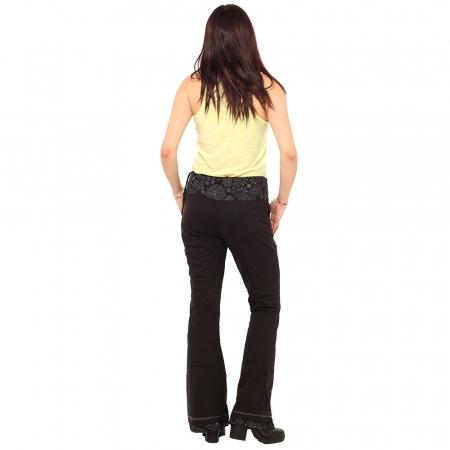 Pantaloni negri - Flower Pattern3