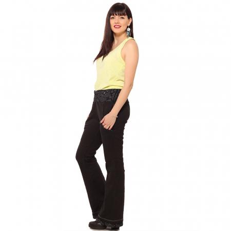 Pantaloni negri - Flower Pattern1