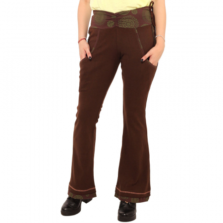 Pantaloni maro - Mandala verde1