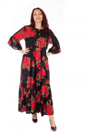 Rochie lunga cu print floral si nasturi0