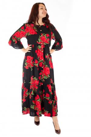 Rochie lunga cu print floral si nasturi2