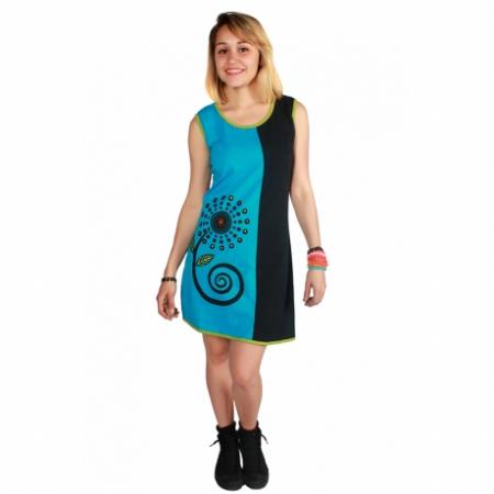Rochie din bumbac in doua culori cu imprimeu0