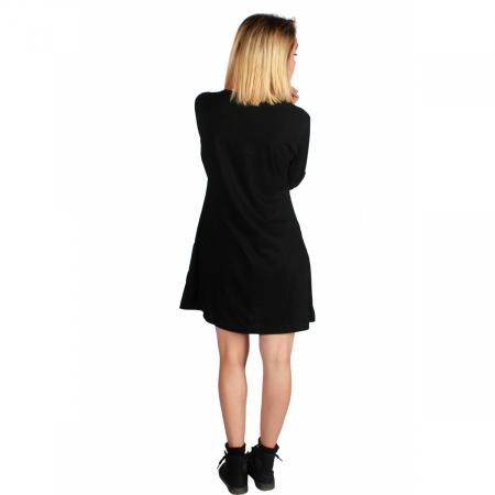 Rochie neagra din bumbac cu maneci lungi2