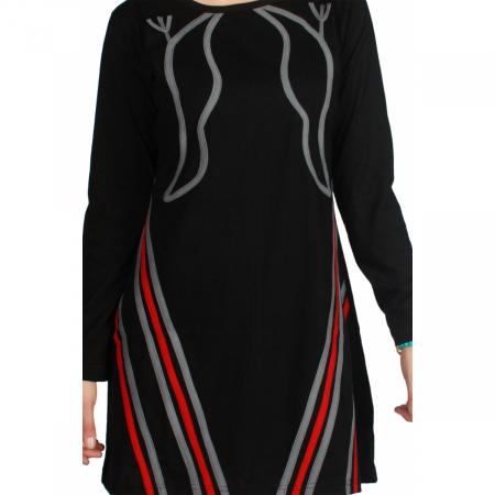 Rochie neagra din bumbac cu maneci lungi3
