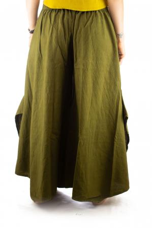 Pantaloni tip salvar din bumbac - Verde evazat5