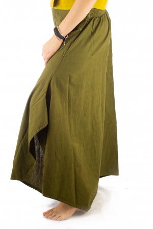 Pantaloni tip salvar din bumbac - Verde evazat7