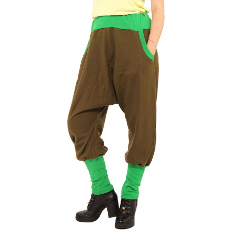 Salvari grosi cu banda verde si stransi jos - kaki [2]