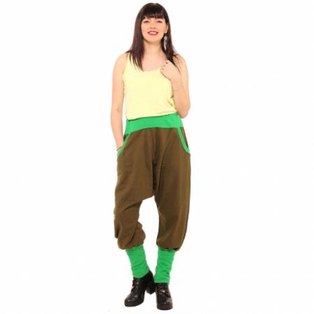 Salvari grosi cu banda verde si stransi jos - kaki [0]