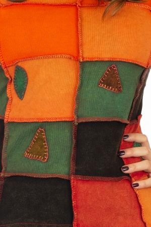 Bluza colorata cu patch-uri - Portocaliu1