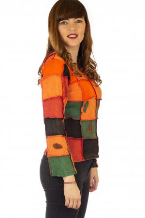 Bluza colorata cu patch-uri - Portocaliu4