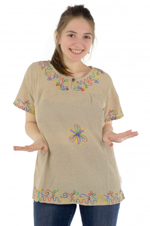 Bluza din bumbac cu broderie  - Color combo 4 [0]