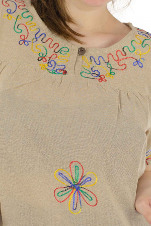 Bluza din bumbac cu broderie  - Color combo 4 [1]