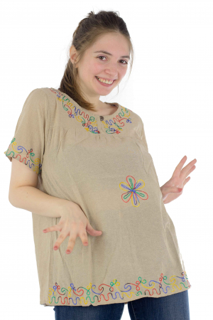 Bluza din bumbac cu broderie  - Color combo 4 [2]