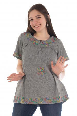 Bluza din bumbac cu broderie  - Color combo 82