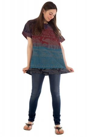 Bluza din bumbac cu maneca scurta  - Color combo 3 [5]
