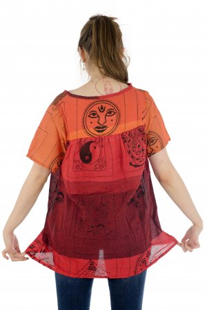 Bluza din bumbac cu maneca scurta  - Color combo 54