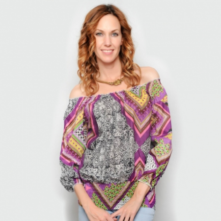 Bluza lejera L - cu imprimeu multicolor0