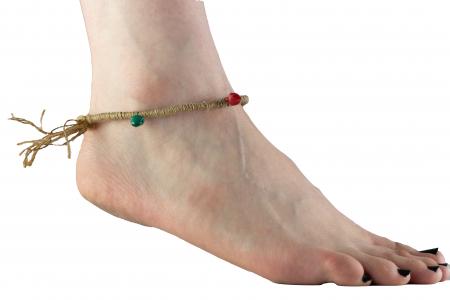 Bratara de picior cu clopotei - Hemp Anklet [1]