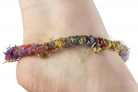 Bratara de picior multicolora cu clopotei - Hemp Anklet [3]