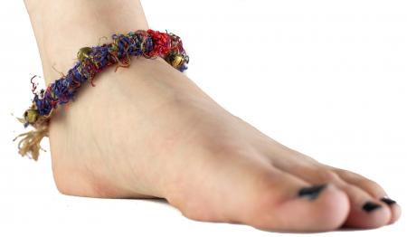 Bratara de picior multicolora cu clopotei - Hemp Anklet [1]